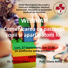 Webinar: Comunicarea cu pacienţii copii şi aparţinătorii lor