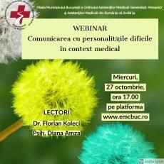 Webinar: Comunicarea cu personalitățile dificile în context medical